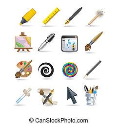 set, disegno, icona