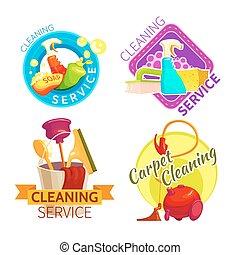 set, distintivo, pulizia, servizio