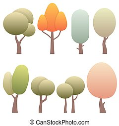 set diversity of trees isolated on white background.
