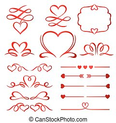 set, dividers, calligraphic, communie, pijl, valentijn, dag, rood