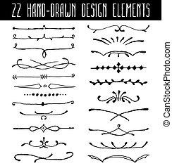 set, divisori, elemento, hand-drawn, disegno, linea, bordo