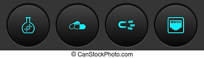 Set DNA research, search, Medicine pill or tablet, Magnet with money and Network port cable socket icon. Vector