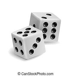 set, dobbelsteen, set., twee, illustratie, spelend, realistisch, spel, vector, witte , shadow., 3d
