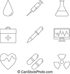 set, doctoral, icone, stile, contorno