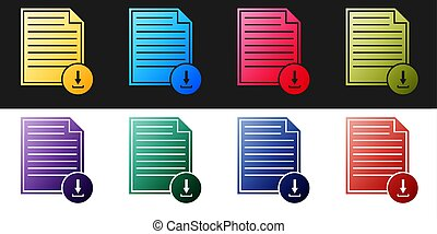 Set Document with download sign icon isolated on black and white background. File document symbol. Vector