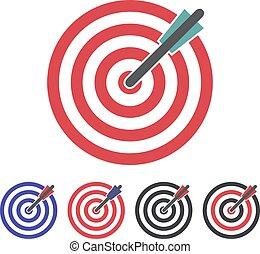 set, doel, illustratie, achtergrond., vector, witte , pictogram