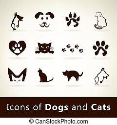 Set dog and cat logo vector