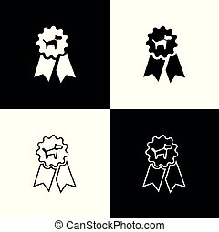 Set Dog award symbol icons isolated on black and white background. Medal with dog footprint as pets exhibition winner concept. Vector Illustration