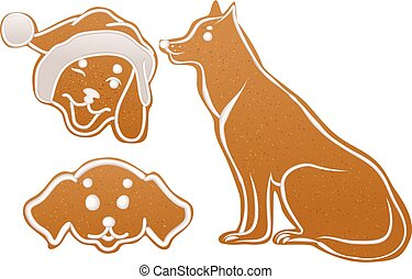 Set dog gingerbread cookie. Christmas ginger snap...