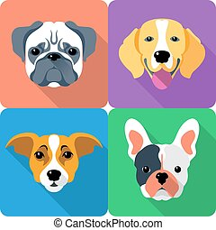 set dog icon flat design - Jack Russell Terrier, French...