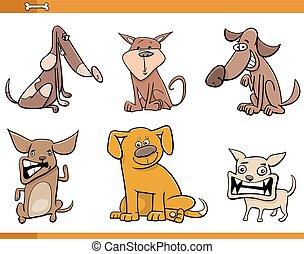 set, dog, karakters, spotprent