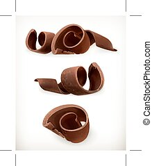 set, dolce, riccio, cioccolati, cibo, isolato, vettore, rasature, fondo, cioccolato bianco, icona