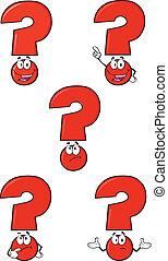 set, domanda, rosso, collezione, marchio