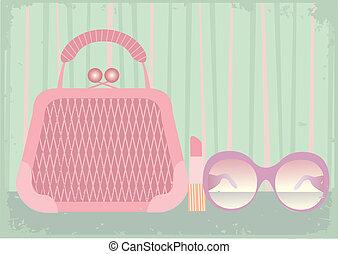 set, donna, borse, vettore
