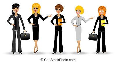 set, donna, snello, affari