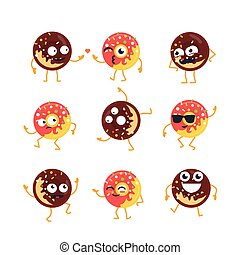 set, donuts, -, vettore, illustrations., mascotte