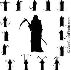 set, dood, met, een, zeis, silhouette