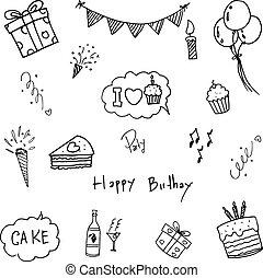 Set doodle birthday party