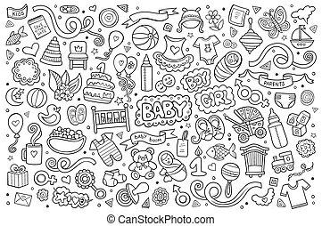 set, doodle, hand, sketchy, voorwerpen, getrokken, spotprent