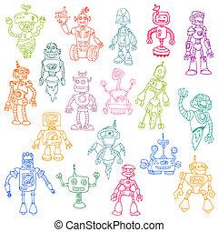 set, doodle, of, -, robots, hand, vector, ontwerp, getrokken, plakboek, jouw