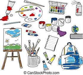 Set doodle school stationery on white background vector illustration