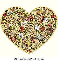 set, doodle, symbolen, items, voorwerpen, spotprent, pizza