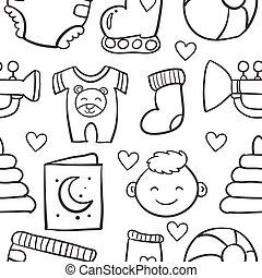 set, doodle, voorwerp, vector, ontwerp, baby