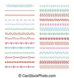 set, doodles., bordo, illustrazione, mano, vettore, disegno, disegnato, linea, scarabocchio, element.