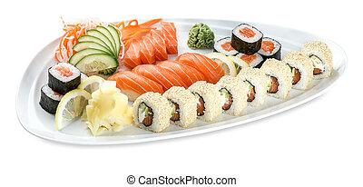 Set double saki sushi plate isolated on white