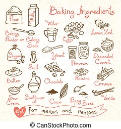 Set drawings of baking ingredients for design menus,...