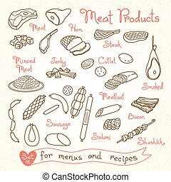 Set drawings of meat products for design menus, recipes and...