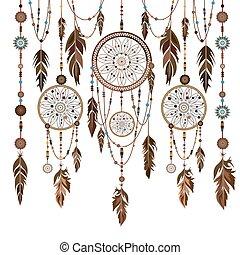 Set Dream Catcher feathers, beads, cobweb
