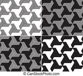 set, driehoek, patterns., seamless, vier elementen, b&w