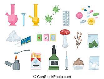 set., drogas, alcohol, narcótico, cigarrillo, cocaína, ...