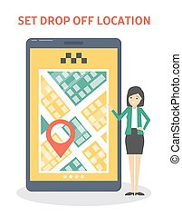 Set drop off location in the taxi booking app. Order car online in the smartphone. Vertical banner with yellow screen on the phone. Isolated flat vector illustration