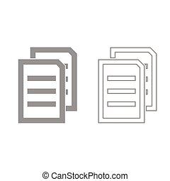 set, due, grigio, fogli, documento, icona
