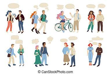 set, due, persone., illustrazione, vettore, fra, parlare, dialogo, paia, multinazionale, altro., ciascuno