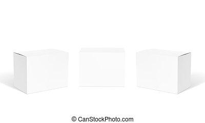 set, duidelijk, realistisch, dozen, kleine, witte , karton