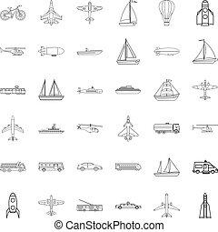 set, duikboot, stijl, schets, iconen