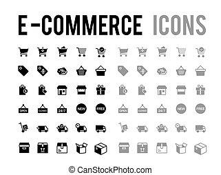 set, e-handel, pictogram, vector, online, aflevering, ...