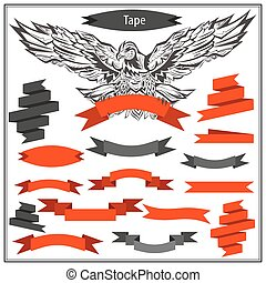 Set eagle ribbons in black and red color