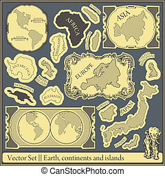 Set - earth, continents and islands - Vector set
