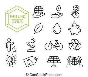 set, eco, ambiente, verde, linea sottile, amichevole, icona