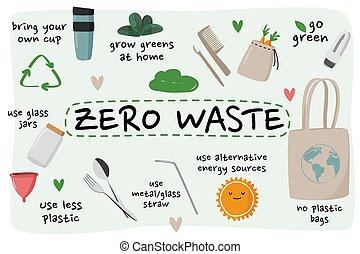 set, eco, collection., vaso, zero, elemento, vetro, ecologico, vettore, spreco, ecc., borsa