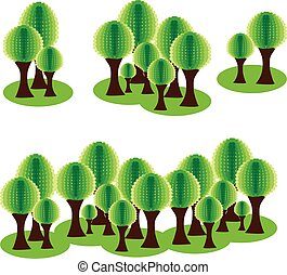 Set Eco forest with abstract green tress