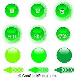 set eco green buttons
