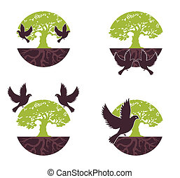 Set Eco Tree with bird. Vector