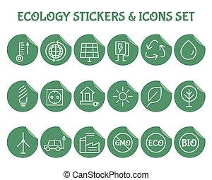 set., ecologia, esboço, ícone