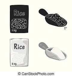 set, ecologisch, liggen, illustration., vector, voorwerp, het koken, icon., vrijstaand, oogst