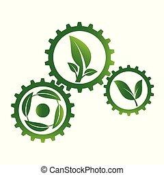 set ecology gear and leaf logo